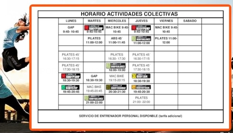 Horario de clases colectivas