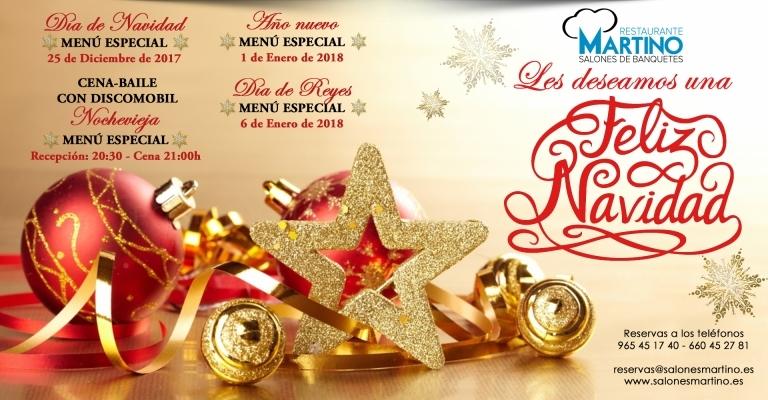 Menús Fiestas Navidades 2017 en Elche
