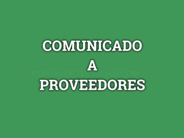 Comunicado a Proveedores