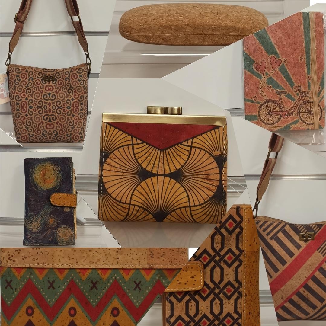 Bolsos de corcho, mochilas de corcho, monederos de corcho, fundas de corcho, cinturones de corcho