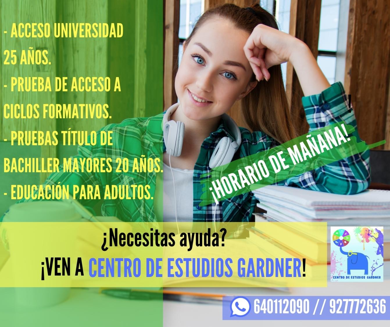 Acceso a la universidad, acceso a grado medio y educación para adultos